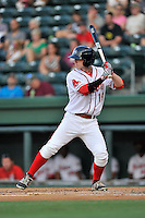 Designated hitter Danny Mars (16) of the Greenville Drive bats in a game against the Greensboro Grasshoppers on Thursday, August 27, 2015, at Fluor Field at the West End in Greenville, South Carolina. Greenville won, 10-2. (Tom Priddy/Four Seam Images)