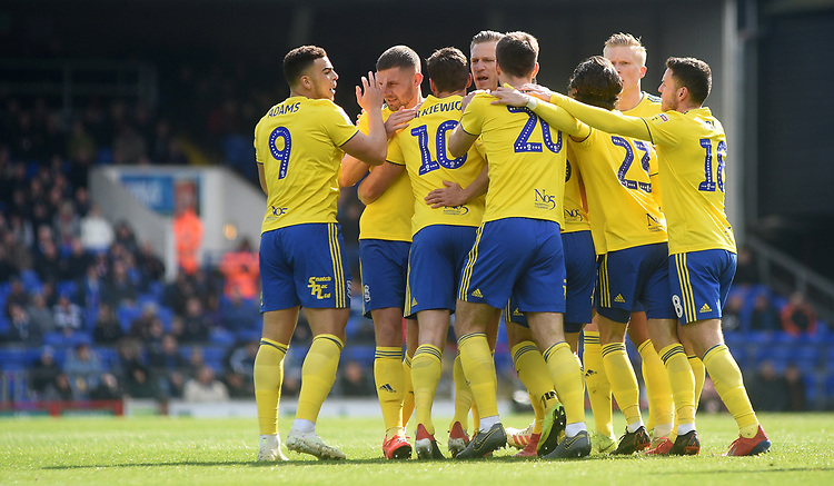 Birmingham City's Lukas Jutkiewicz  celebrates scoring his side's first goal <br /> <br /> Photographer Hannah Fountain/CameraSport<br /> <br /> The EFL Sky Bet Championship - Ipswich Town v Birmingham City - Saturday 13th April 2019 - Portman Road - Ipswich<br /> <br /> World Copyright © 2019 CameraSport. All rights reserved. 43 Linden Ave. Countesthorpe. Leicester. England. LE8 5PG - Tel: +44 (0) 116 277 4147 - admin@camerasport.com - www.camerasport.com