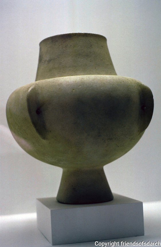 "Greek Art:  Kandila--Collared Jar. Stone Age Aegean pottery, about 10"" high. Early Cycladic, 3900-2800 B.C.  Menil Collection, Houston  TX.   Reference only."