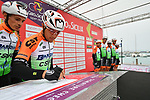Bardiani-CSF at sign on before the start of Stage 2 of Il Giro di Sicilia running 236km from Capo d'Orlando to Palermo, Italy. 4th April 2019.<br /> Picture: LaPresse/Massimo Paolone | Cyclefile<br /> <br /> <br /> All photos usage must carry mandatory copyright credit (© Cyclefile | LaPresse/Massimo Paolone)