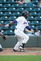 Marcus Davis (3) of the Winston-Salem Dash follows through on his swing against the Lynchburg Hillcats at BB&T Ballpark on April 28, 2016 in Winston-Salem, North Carolina.  The Dash defeated the Hillcats 4-1.  (Brian Westerholt/Four Seam Images)