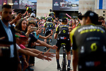 Mitchelton-Scott team arrive on stage at the Team Presentation before the 101st edition of the Giro d'Italia 2018. Jerusalem, Israel. 3rd May 2018.<br /> Picture: LaPresse/Marco Alpozzi | Cyclefile<br /> <br /> <br /> All photos usage must carry mandatory copyright credit (&copy; Cyclefile | LaPresse/Marco Alpozzi)