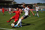 31.08.2019, Auestadion, Kassel, GER, DFB Frauen, EM Qualifikation, Deutschland vs Montenegro , DFB REGULATIONS PROHIBIT ANY USE OF PHOTOGRAPHS AS IMAGE SEQUENCES AND/OR QUASI-VIDEO<br /> <br /> im Bild | picture shows:<br /> Giulia Gwinn (DFB Frauch #15) im Duell mit Aleksandra Popovic (Montenegro #3)<br /> <br /> Foto © nordphoto / Rauch