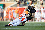 Wake Forest Demon Deacons tight end Jack Freudenthal (86) is tackled by Clemson Tigers defensive back Nolan Turner (24) during first half action at BB&T Field on October 6, 2018 in Winston-Salem, North Carolina. (Brian Westerholt/Sports On Film)