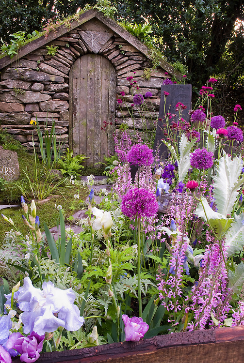 Flower Garden Path gazebo & garden shed stock images - images | plant & flower stock