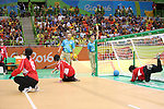 (L-R)<br /> Rie Urata,<br /> Akiko Adachi,<br /> Haruka Wakasugi (JPN),<br /> SEPTEMBER ,8 2016 - Goalball : <br /> Preliminary Round<br /> match between Japan 1-1 Israel<br /> at Future Arena<br /> during the Rio 2016 Paralympic Games in Rio de Janeiro, Brazil.<br /> (Photo by Shingo Ito/AFLO)