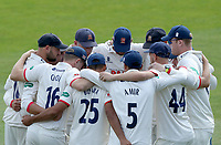 Essex cricket team huddle during Kent CCC vs Essex CCC, Specsavers County Championship Division 1 Cricket at the St Lawrence Ground on 20th August 2019