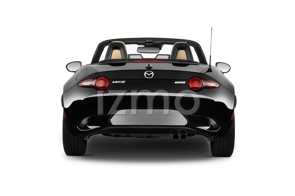 Straight rear view of 2016 Mazda MX-5 Miata Grand Touring 2 Door Convertible Rear View  stock images
