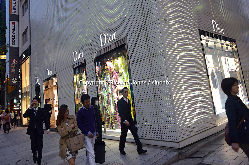 French designer Dior in the up-market shopping district,  Ginza, Tokyo, Japan.<br /> April-2014
