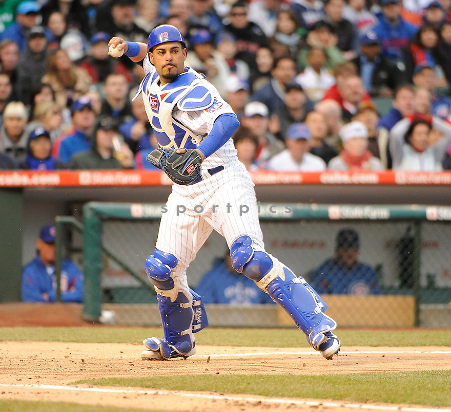 GEOVANY SOTO, of the Chicago Cubs , in actions during the Cubs game against the Pittsburgh Pirates at Wrigley FIeld on April 3, 2011.  The Pirates won the game beating the Cubs 5-4.