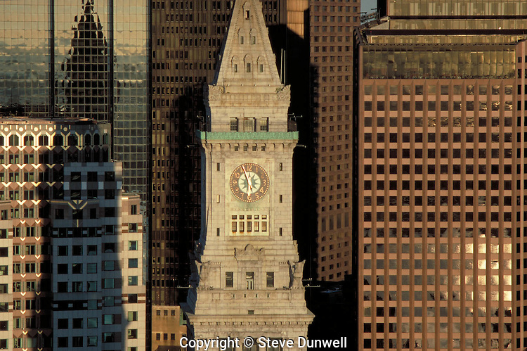 Customs House tower, aerial view, sunrise, Boston