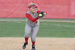 MADISON, WI - APRIL 15: Second baseman Theresa Boruta #14 of the Wisconsin Badgers catches a fly ball during a a double-play against the Purdue Boilermakers at the Goodman Diamond softball field on April 15, 2007 in Madison, Wisconsin. (Photo by David Stluka)