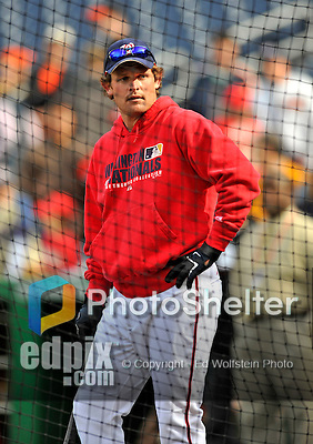 29 March 2008: Washington Nationals outfielder Austin Kearns awaits his turn in the batting cage prior to an exhibition game against the Baltimore Orioles at Nationals Park, in Washington, DC. The matchup is the first professional game to be played in the new ballpark, prior to the upcoming official opening day inaugural game. ..Mandatory Photo Credit: Ed Wolfstein Photo