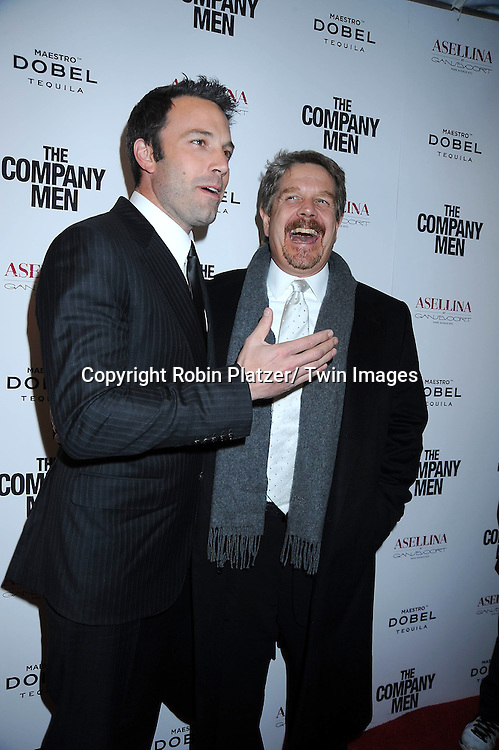 "Ben Affleck and John Wells attending The New York Screening .of ""The Company Men"" on December 8, 2010 at The Paris Theatre in New York City. The movie stars Ben Affleck."