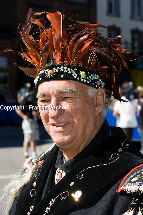File photo of Max Gros-louis, Grand Chief of the Huron-Wendat nation native reserve, an enclave within Quebec City, Canada<br /> <br /> PHOTO :  Francis Vachon - Agence Quebec Presse