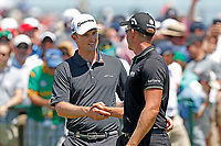 Justin Rose (ENG) shakes hands with Henrik Stenson (SWE) on the first tee during the final round of the 118th U.S. Open Championship at Shinnecock Hills Golf Club in Southampton, NY, USA. 17th June 2018.<br /> Picture: Golffile | Brian Spurlock<br /> <br /> <br /> All photo usage must carry mandatory copyright credit (&copy; Golffile | Brian Spurlock)