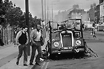 Toxteth Riots Liverpool Lancashire Uk. 1981 Morning after riots burnt out delivery van. 1980s UK.