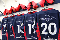 London Scottish kits lined up and ready to go during the Championship Cup match between London Scottish Football Club and Yorkshire Carnegie at Richmond Athletic Ground, Richmond, United Kingdom on 4 October 2019. Photo by Carlton Myrie / PRiME Media Images