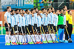 Argentina team during their national anthem before Argentina vs Belgium  in the men's gold medal game at the Rio 2016 Olympics at the Olympic Hockey Centre in Rio de Janeiro, Brazil.