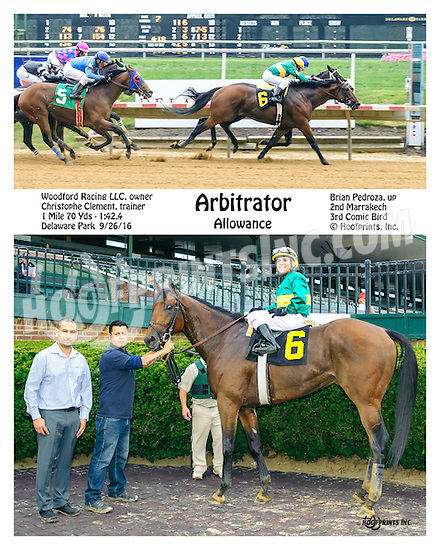 Arbitrator winning at Delaware Park on 9/26/16
