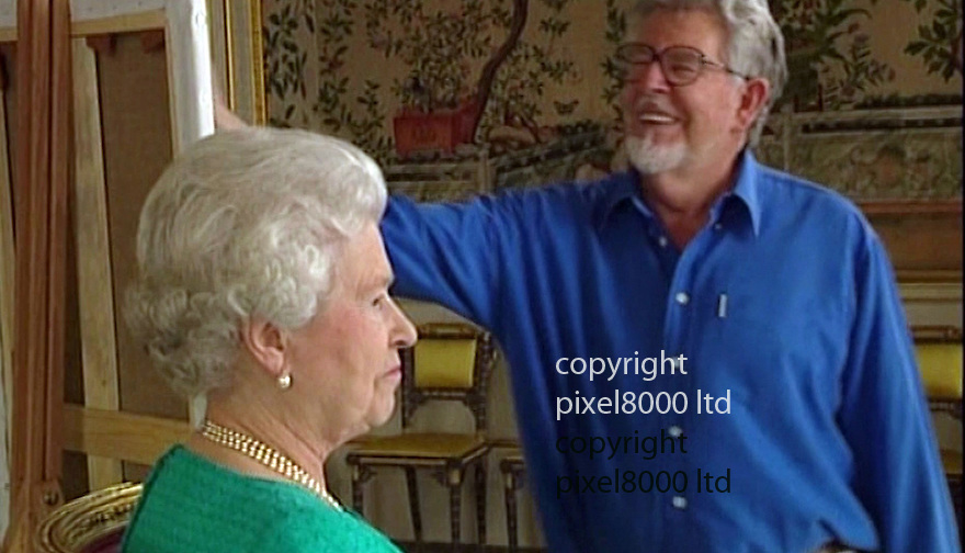 pic shows: Rolf Harris and the Queen where he painted her portrait.<br /> The Queen by Rolf<br /> <br /> <br /> Picture by Pixel8000 07917221968