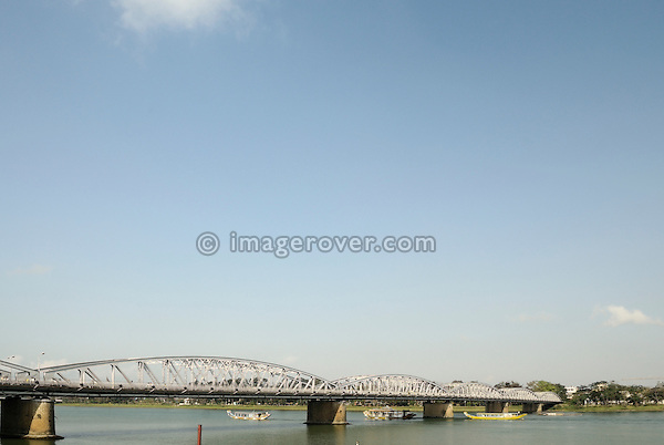 Asia, Vietnam, Hue. Trang Tien bridge across the Huong or Perfume River.