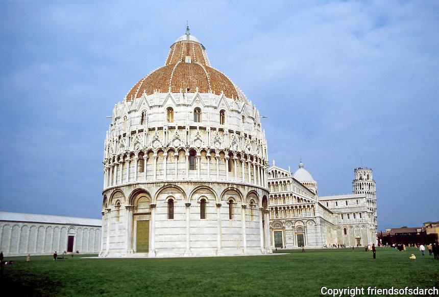 Italy: Pisa--Baptistry, 1143-14th C. Piazza Del Duomo. Photo '83.