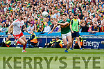 Paul Geaney, Kerry in action against Ronan McGee, Tyrone during the All Ireland Senior Football Semi Final between Kerry and Tyrone at Croke Park, Dublin on Sunday.