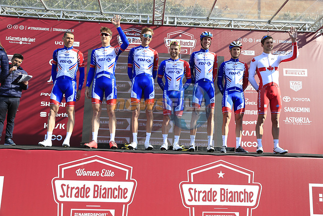 Groupma-FDJ team at sign on in Fortezza Medicea before the start of Strade Bianche 2019 running 184km from Siena to Siena, held over the white gravel roads of Tuscany, Italy. 9th March 2019.<br /> Picture: Eoin Clarke | Cyclefile<br /> <br /> <br /> All photos usage must carry mandatory copyright credit (© Cyclefile | Eoin Clarke)
