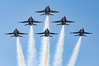 The Blue Angels in a six ship delta formation approaches the air show box during their aerial demonstration as part of the 2008 San Francisco Fleet Week activities. The Blue Angels fly the Boeing built F/A-18 Hornet.