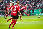 01.05.2019, RheinEnergie Stadion , Köln, GER, 1.FBL, Borussia Dortmund vs FC Schalke 04, DFB REGULATIONS PROHIBIT ANY USE OF PHOTOGRAPHS AS IMAGE SEQUENCES AND/OR QUASI-VIDEO<br /> <br /> im Bild | picture shows:<br /> Torschuss Sharon Beck (SC Freiburg Frauen #10), <br /> <br /> Foto © nordphoto / Rauch