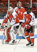 Bryce Merriam (RPI - 32), Allen York (RPI - 30), John Kennedy (RPI - 5) - The visiting Rensselaer Polytechnic Institute Engineers tied their host, the Northeastern University Huskies, 2-2 (OT) on Friday, October 15, 2010, at Matthews Arena in Boston, MA.