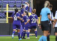 20190807 - ANDERLECHT, BELGIUM : Anderlecht's players pictured celebrating the 4-0 lead during the female soccer game between the Belgian RSCA Ladies – Royal Sporting Club Anderlecht Dames  and the Greek FC PAOK Thessaloniki ladies , the first game for both teams in the Uefa Womens Champions League Qualifying round in group 8 , Wednesday 7 th August 2019 at the Lotto Park Stadium in Anderlecht  , Belgium  .  PHOTO SPORTPIX.BE | DAVID CATRY
