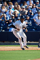 New York Yankees right fielder Isiah Gilliam (60) leads off first base during a Grapefruit League Spring Training game against the Toronto Blue Jays on February 25, 2019 at George M. Steinbrenner Field in Tampa, Florida.  Yankees defeated the Blue Jays 3-0.  (Mike Janes/Four Seam Images)