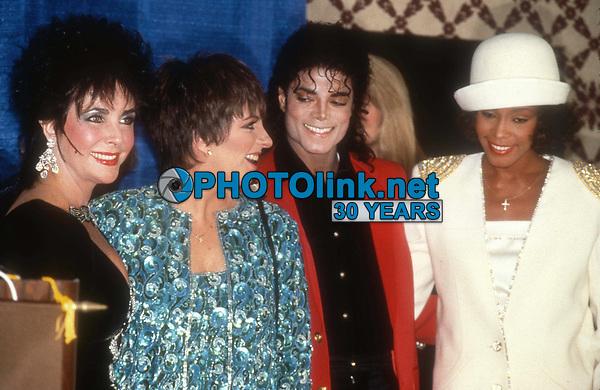 Elizabeth Taylor Liza Minnelli Michael Jackson Whitney Houston 1988<br /> Photo By John Barrett/PHOTOlink.net