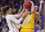 SIOUX FALLS, SD: MARCH 6: Ellie Thompson #45 of South Dakota State battles for a rebound with Caitlyn Tolen #12 of IUPUI during the Summit League Basketball Championship on March 6, 2017 at the Denny Sanford Premier Center in Sioux Falls, SD. (Photo by Dick Carlson/Inertia)