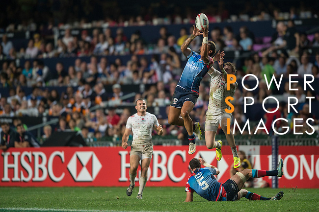USA vs England during the Plate Final at the HSBC Hong Kong Rugby Sevens 2016 on 10 April 2016 at Hong Kong Stadium in Hong Kong, China. Photo by Li Man Yuen / Power Sport Images