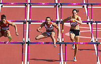 03 AUG 2012 - LONDON, GBR - Jessica Ennis (GBR) (second from right) of Great Britain clears a hurdle during her heat in the women's heptathlon at the London 2012 Olympic Games athletics in the Olympic Stadium in the Olympic Park in Stratford, London, Great Britain (PHOTO (C) 2012 NIGEL FARROW)