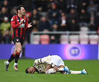 2nd November 2019; Vitality Stadium, Bournemouth, Dorset, England; English Premier League Football, Bournemouth Athletic versus Manchester United;  Marcus Rashford of Manchester United lies injured - Strictly Editorial Use Only. No use with unauthorized audio, video, data, fixture lists, club/league logos or 'live' services. Online in-match use limited to 120 images, no video emulation. No use in betting, games or single club/league/player publications