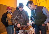 NWA Democrat-Gazette/BEN GOFF @NWABENGOFF<br /> Caleb Osborne (from left) and Kevin White with the Arkansas Department of Environmental Quality, show U.S. Sen. Tom Cotton aerial photos of the site Friday, Feb. 8, 2019, during a tour of the stump dump fire site in Bella Vista.