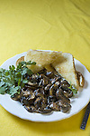 Shiitake mushrooms on buttered toast