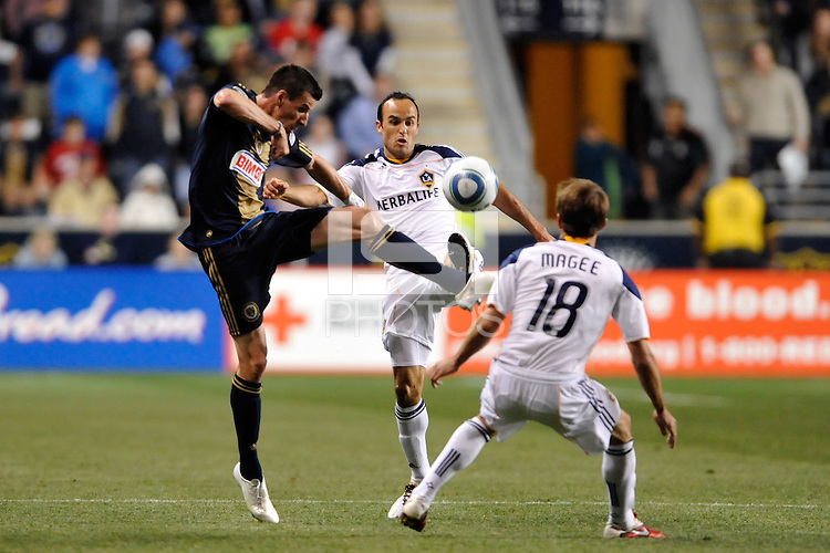 Sebastien Le Toux (9) of the Philadelphia Union and Landon Donovan (10) of the Los Angeles Galaxy look to play the ball. The Philadelphia Union  and the Los Angeles Galaxy played to a 1-1 tie during a Major League Soccer (MLS) match at PPL Park in Chester, PA, on May 11, 2011.