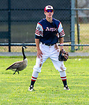 TORRINGTON,  CT-072419JS22--A goose stroll behind CC Armour's Casey Wood (4) in center field during their Mickey Mantle World Series game against Wolcott Storm Wednesday at Fuessenich Park in Torrington. <br />  Jim Shannon Republican American