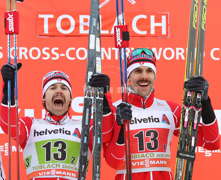 Canada's Team. Team sprint of the FIS Cross Country Ski World Cup  in Dobbiaco, Toblach, on January 15, 2017. For ladies Russia wins ahead of Sweden and Norway. For men's Canada wins ahead of Sweden and Italy's with Dietmar Noeckler and Federico Pellegrino. Credit: Pierre Teyssot