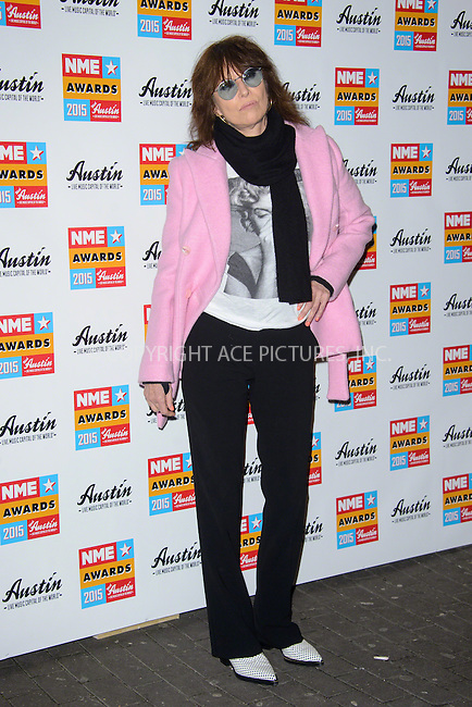 WWW.ACEPIXS.COM<br /> <br /> February 18 2015, London<br /> <br /> Chrissie Hynde attends the NME Awards 2015 at the Brixton Academy on February 18 2015 in London. <br /> <br /> By Line: Famous/ACE Pictures<br /> <br /> <br /> ACE Pictures, Inc.<br /> tel: 646 769 0430<br /> Email: info@acepixs.com<br /> www.acepixs.com