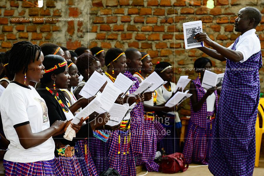 UGANDA, Karamoja, Kaabong, Karamojong tribe, catholic church, holy mass and diakon ordination / katholische Kirche, Gottesdienst und Diakon Weihe, Gospel Chor