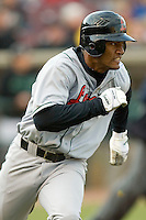 Alfredo Silverio #27 of the Great Lakes Loons hustles down the first base line versus the Dayton Dragons at Fifth Third Field April 22, 2009 in Dayton, Ohio. (Photo by Brian Westerholt / Four Seam Images)
