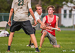30 May 2015: Champlain Valley Union High School plays Montpelier in the final round of the VYUL State Ultimate Disk Championships at Milton Senior High School in Milton, Vermont. Montpelier defeated CVU 15-8 to take the 2015 State Championship. Mandatory Credit: Ed Wolfstein Photo *** RAW (NEF) Image File Available ***