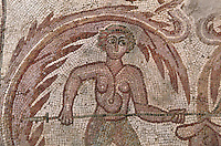 Burnt Palace, Mosaic showing a detail of a hunter, VI century, Madaba, Jordan