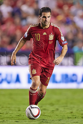 08.09.2014.  Valencia, Spain. Midfielder Cesc Fabregas in action during the European Championship Qualifying. Spain versus Macedonia.